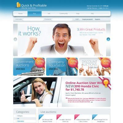Auction Website Template Auction Flash Cms Template  Premium Auction And Template