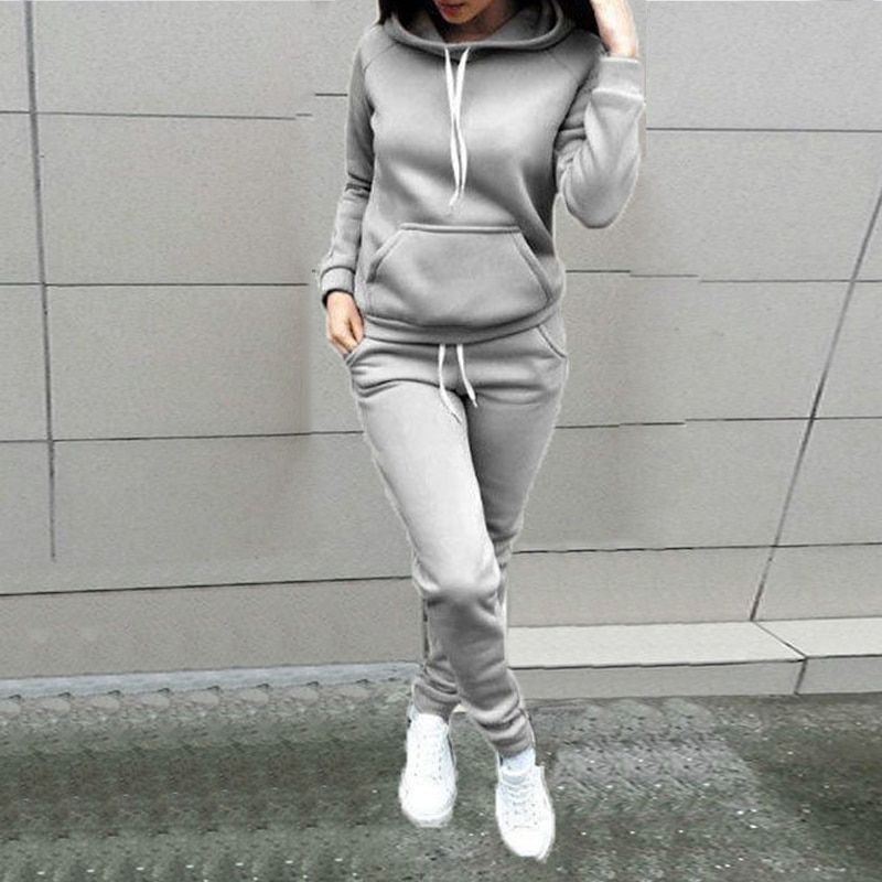 2PCS Womens Tracksuit Hoodie Pullover Sweatpants Outfit Casual Loose Sportswear