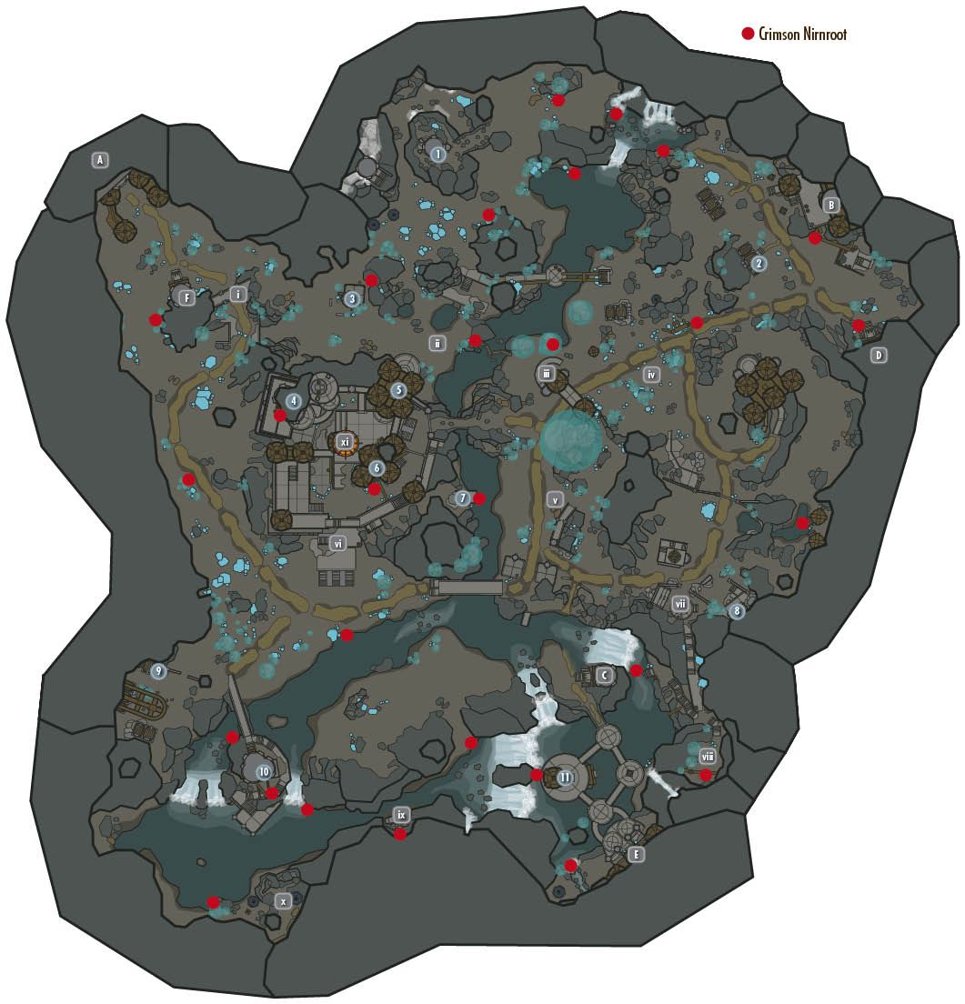 This Should Be Useful To Many Of You A Map Of The Crimson Nirnroot