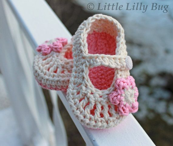 Crocheted Mary Jane Baby Booties In Cream And Pink Baby Girl Shoes