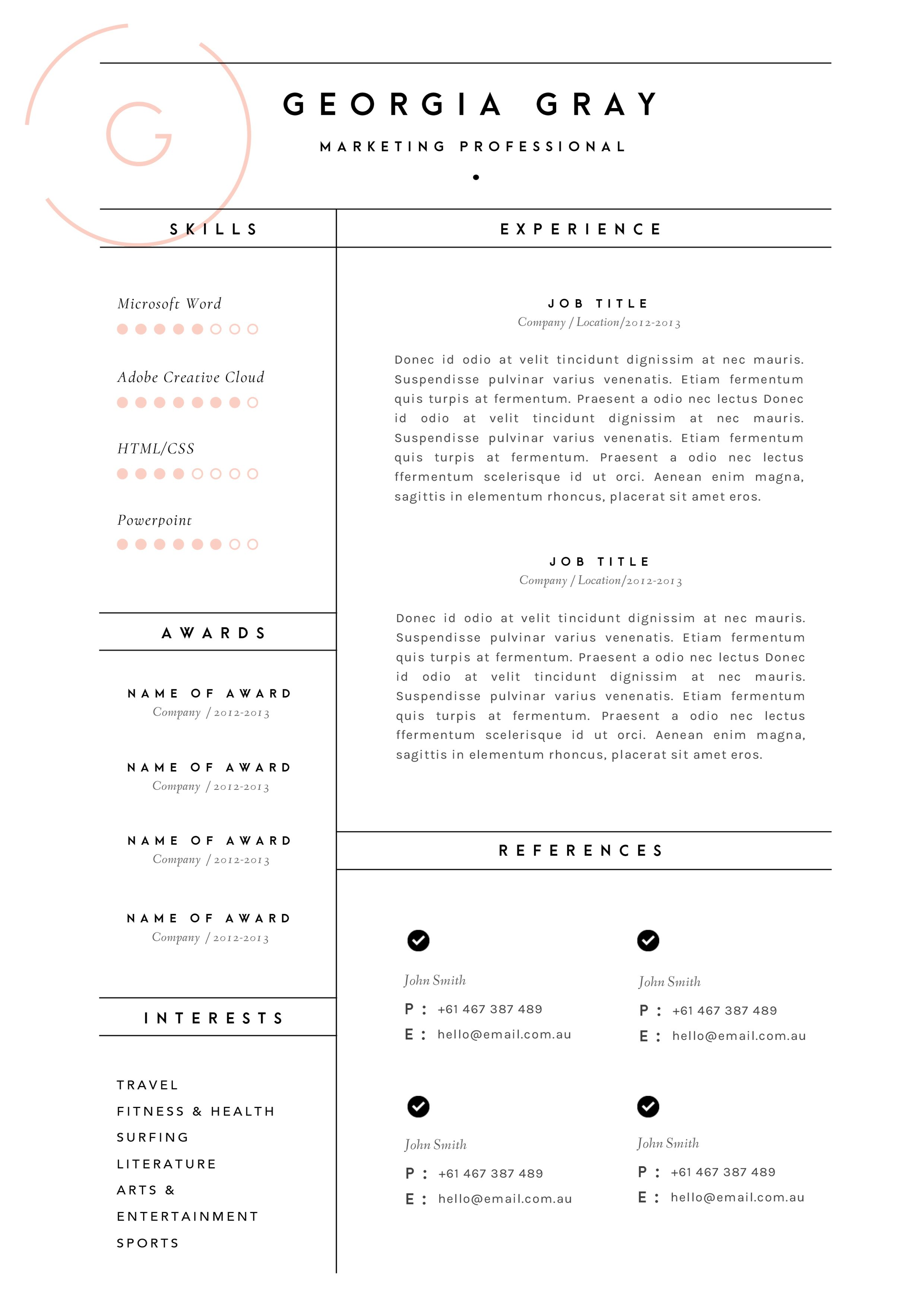 Resume Template 3 Page Cv Template By The Template Depot On