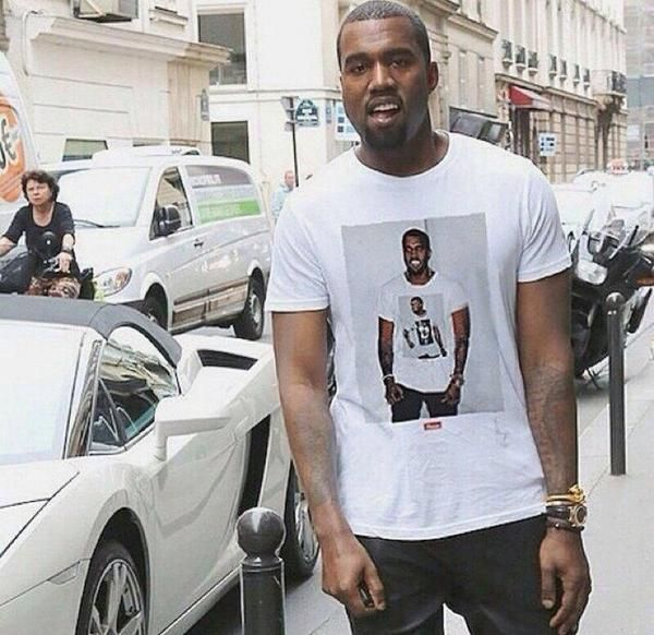 Kanye West Wearing A T Shirt Of Himself Wearing A T Shirt Of Himself Kanye West Style Kanye West Outfits Kanye West