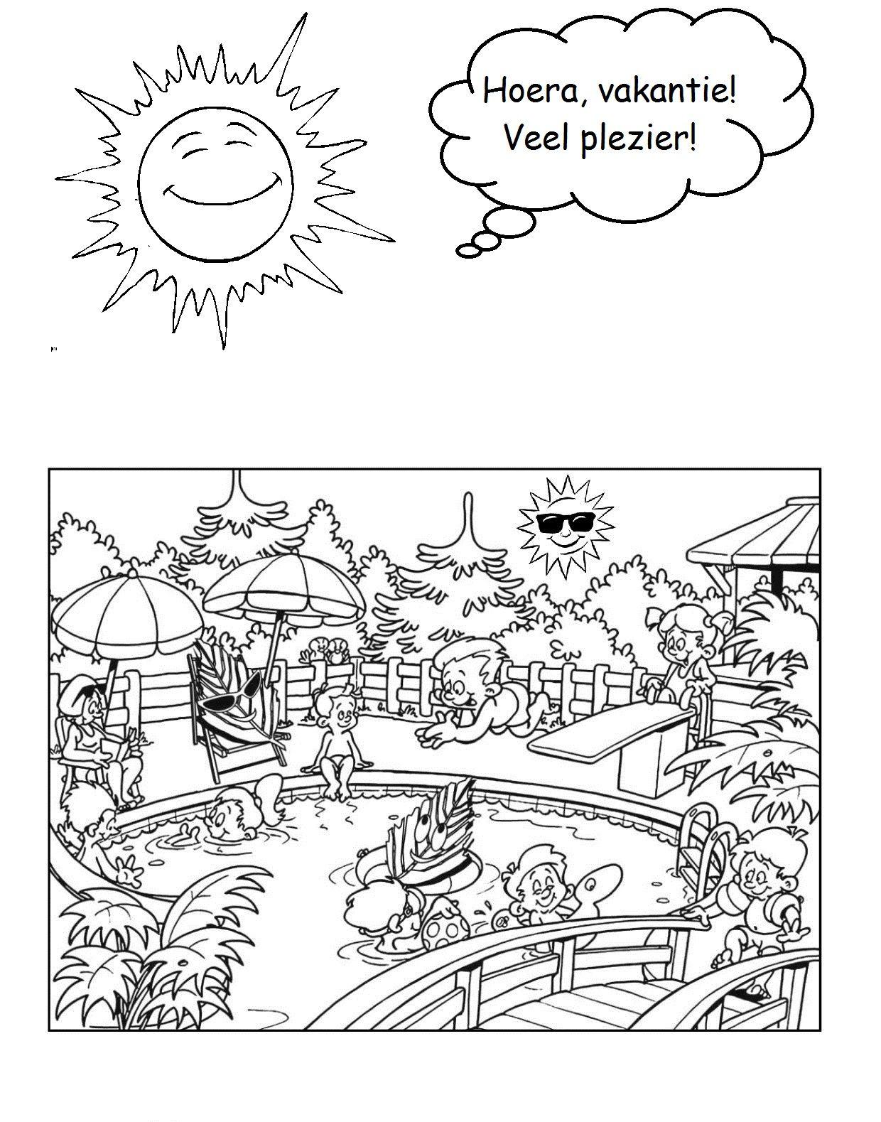 Hoera Vakantie Coloring Pages Color Math