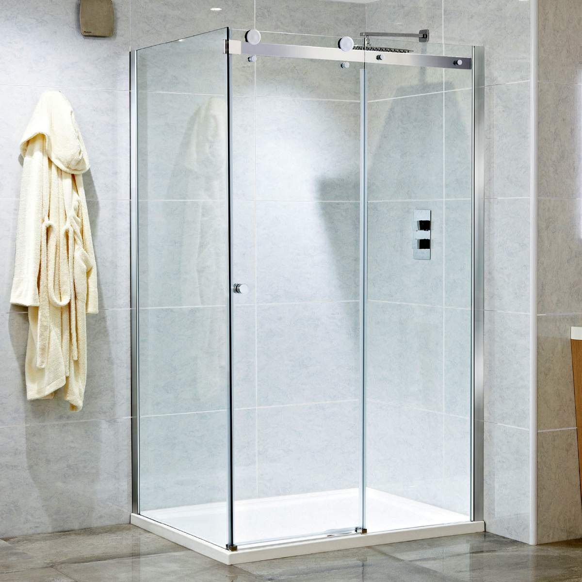 Phoenix Motion 8mm Frameless Single Sliding Shower Door With Images Sliding Shower Door Shower Doors Framed Shower Door