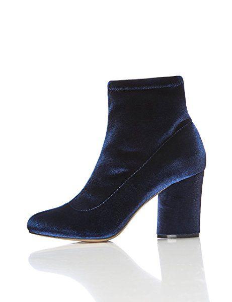 FIND Damen Stiefel mit Blockabsatz, Blau (NAVY), 36 EU