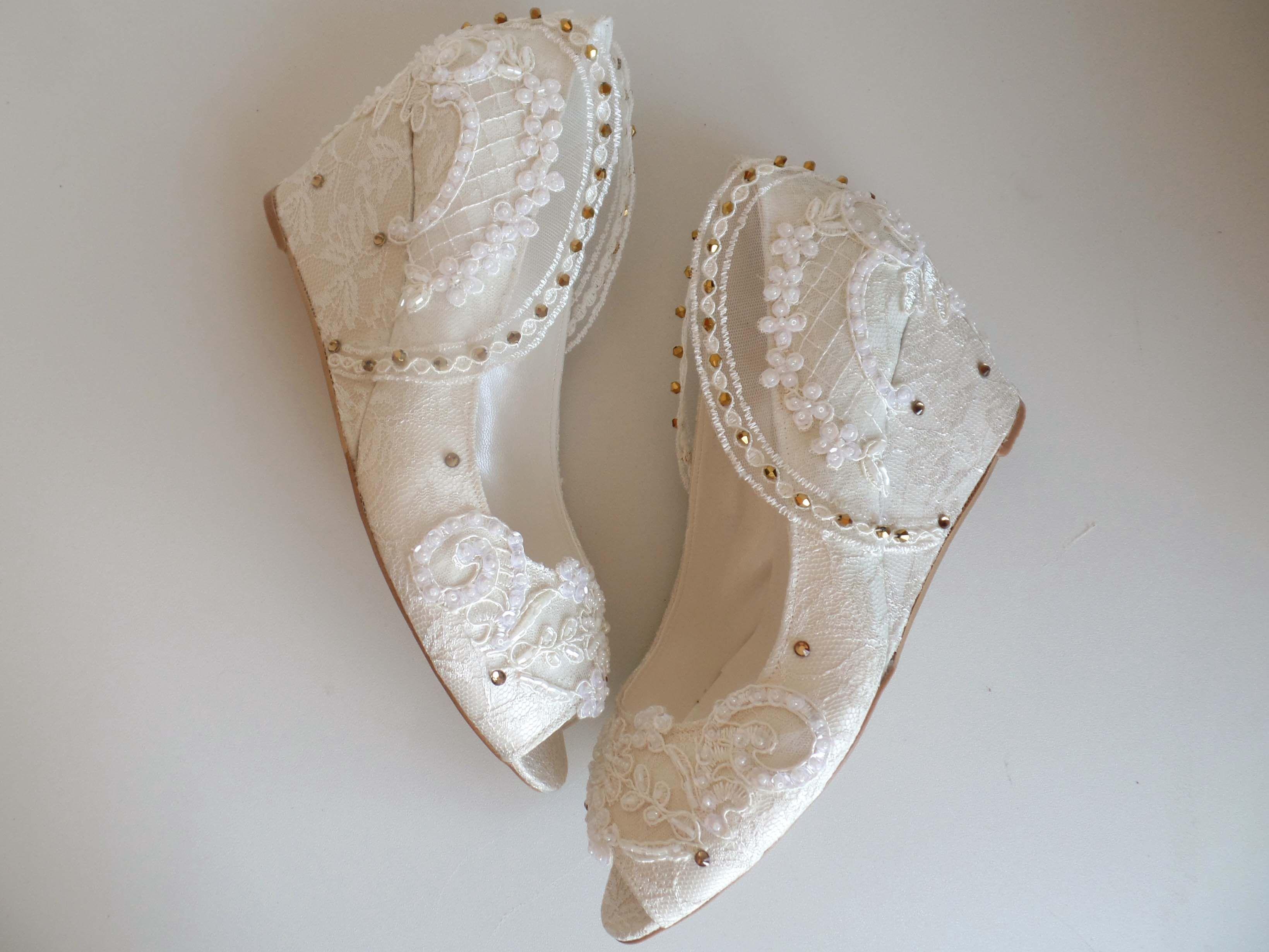 Boho wedding wedges embellished lace bridal wedge shoes with pearls