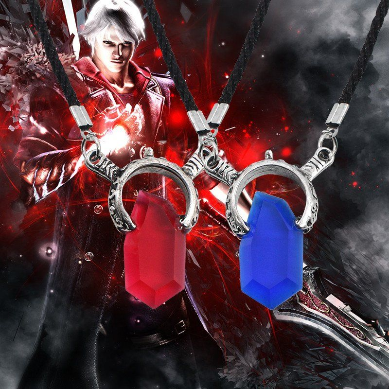 New Devil May Cry 5 - Dante Red / Vergil Blue Crystal Pendant Necklaces with Leather Colar
