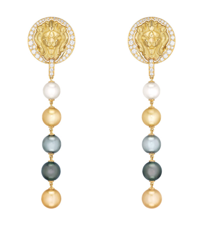"Chanel ""Lion Talisman"" earrings in yellow gold set with brilliant-cut diamonds and multi-coloured cultured pearls, from the Sous le Signe du Lion High Jewellery collection."