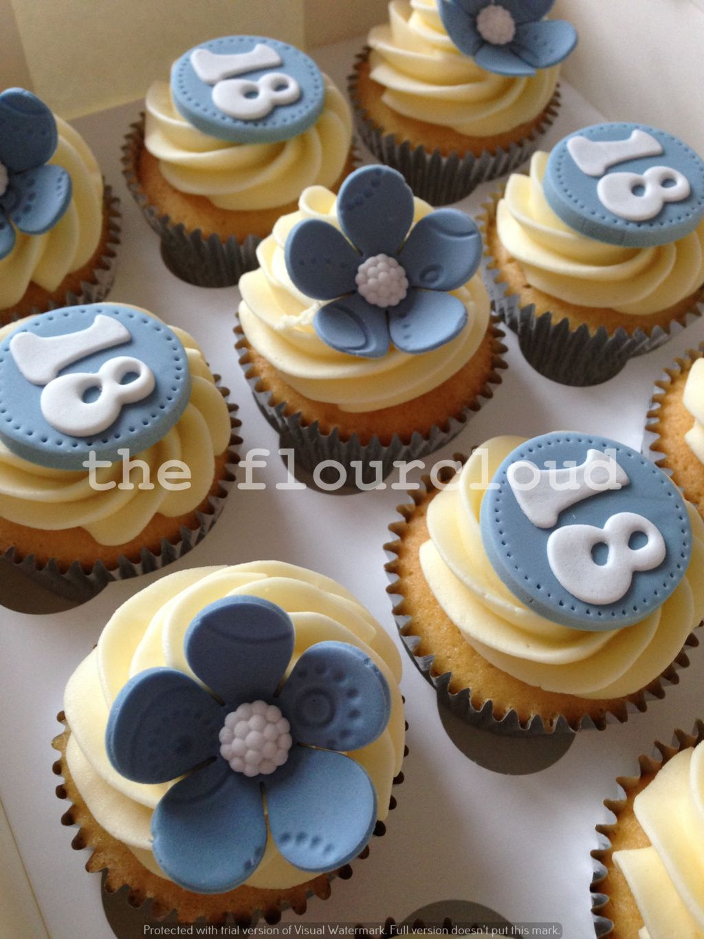 18th Birthday Flower Cupcakes Cupcakes Pinterest Flower