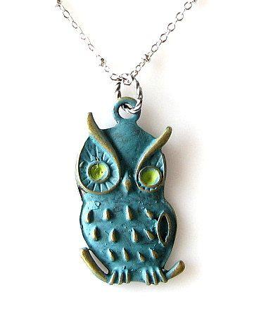 owl necklace verdigris patina jewelry long necklace by KriyaDesign