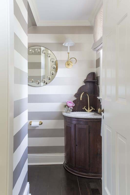 Antique Modest Meets High Design Powder Room Striped
