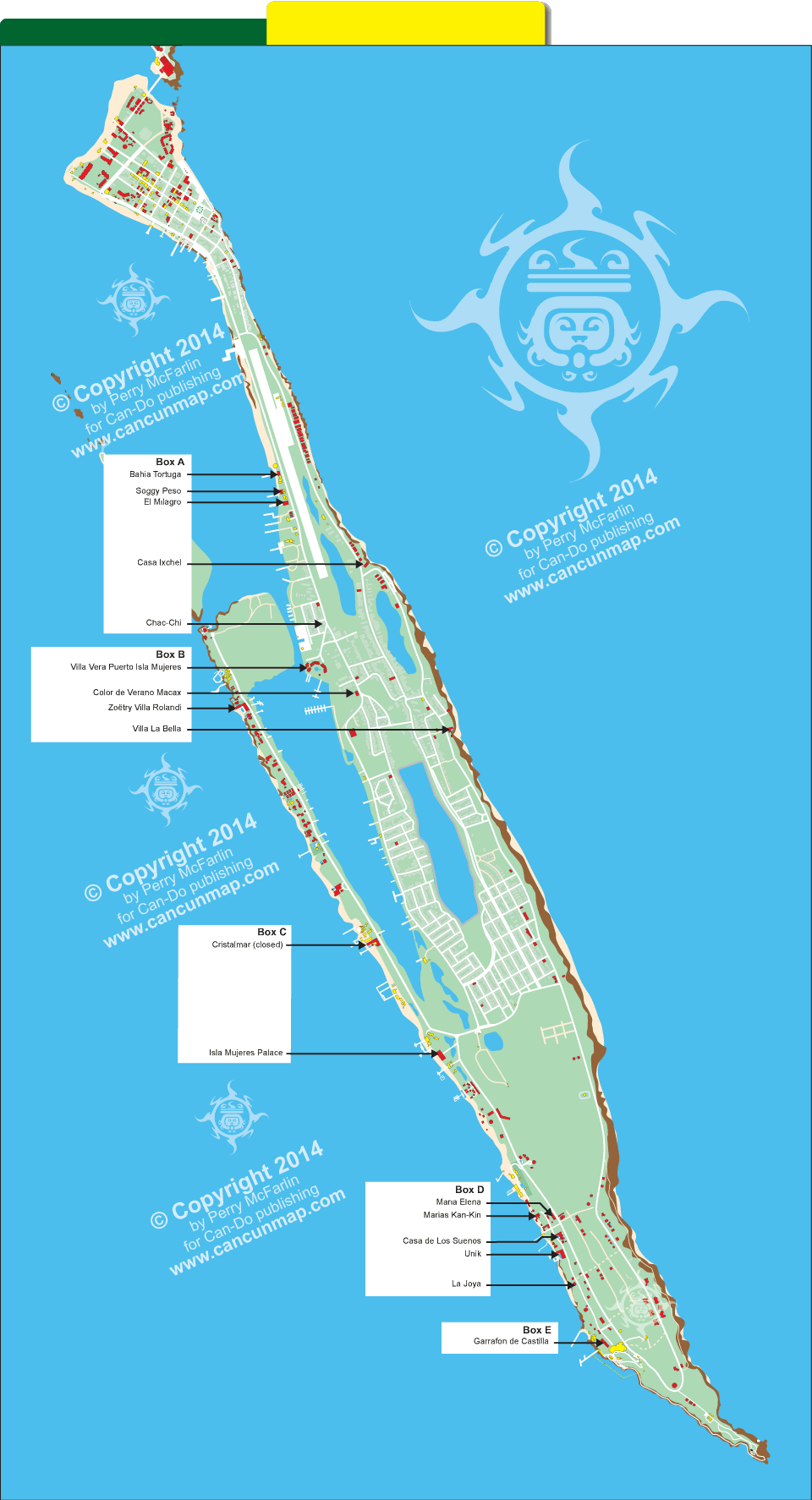 Map Of Isla Mujeres Hotel Locations. Places