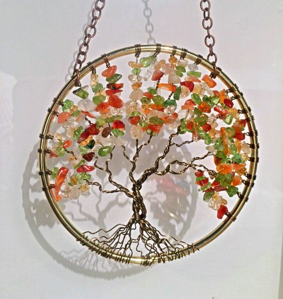 SunCatcher Tree of Life - Citrine Peridot and Orange Carnelian on Gold and Brown Wire Wrapped Tree - Sun Catcher Window Handmade Gemstones