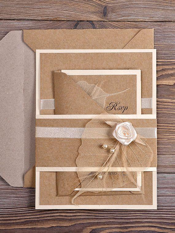 Natural Burlap Wedding Invitation Country Style Wedding – Burlap Wedding Invite
