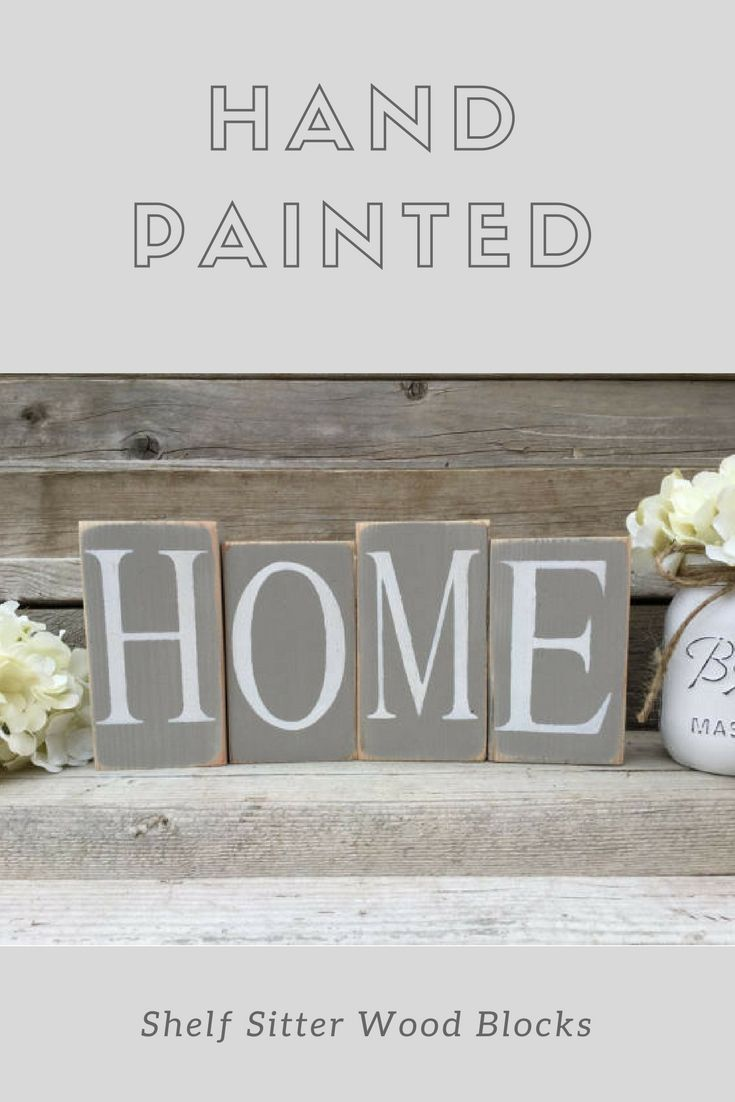 Home Sign Wood Blocks Distressed Decor Rustic