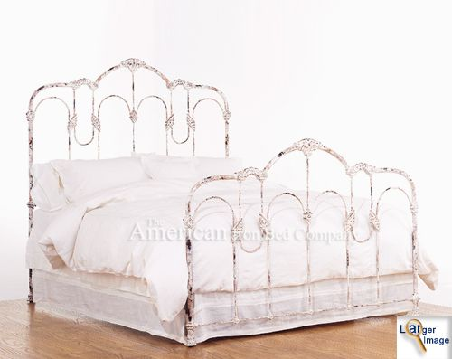 My New Iron Bed In Antique Distressed White Iron Bed Frame