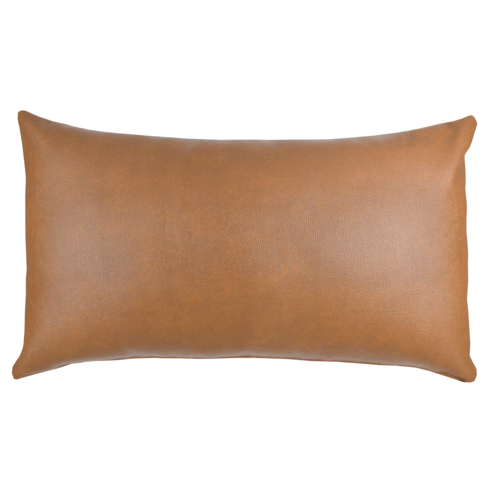 Milo Lumbar Faux Leather Lumbar Throw Pillow Pillow Covers