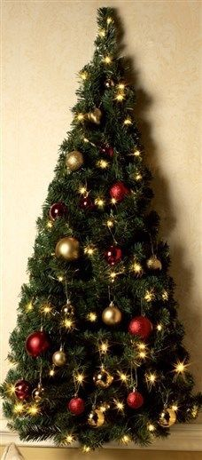 Pre lit wall mount half christmas tree light up clear led lights ...