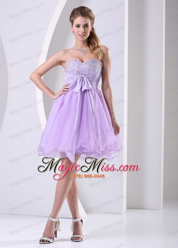 wholesale lilac sweetheart beaded chiffon sash short dress for prom ...