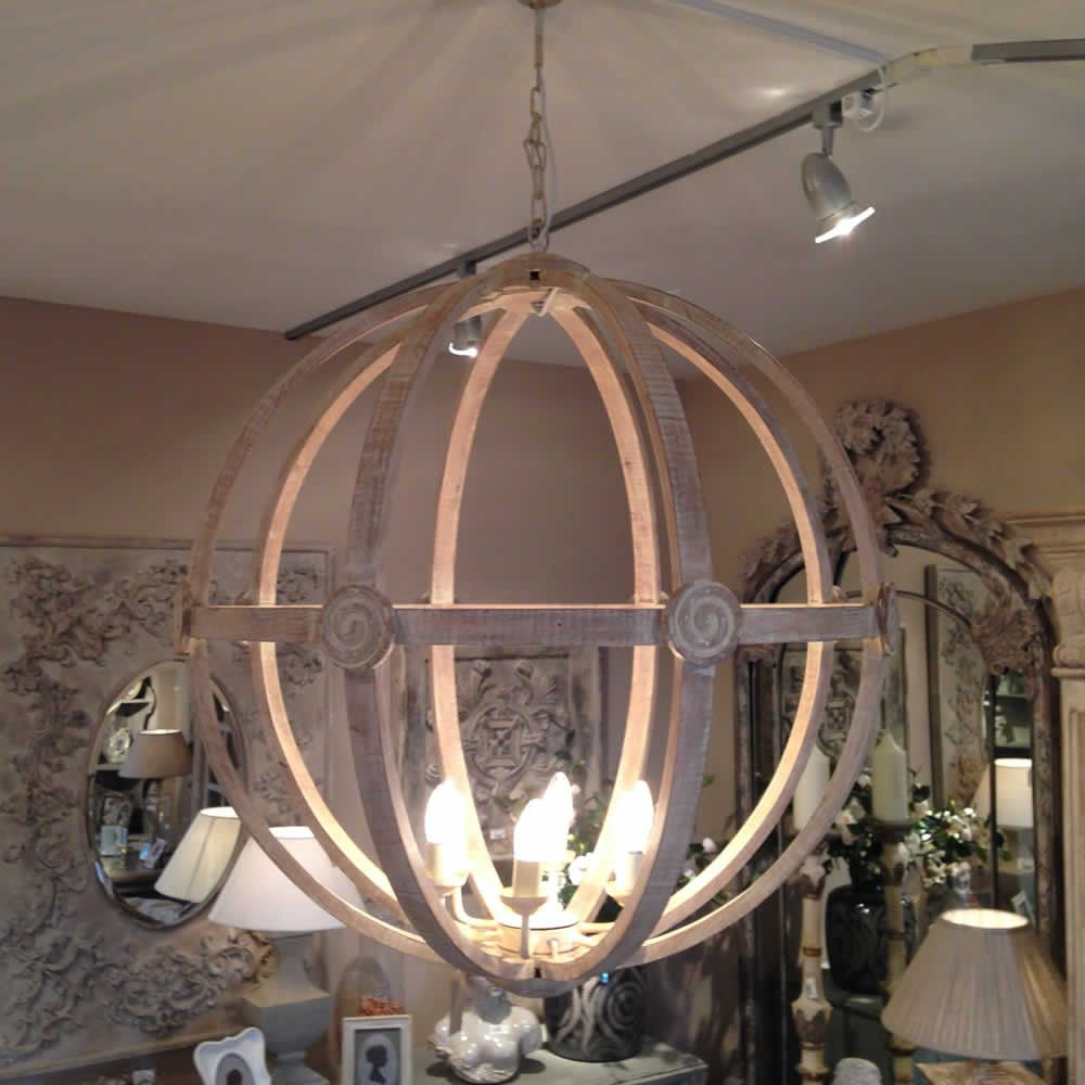 Extra Large Round Wooden Orb Chandelier Stunning Rustic Light