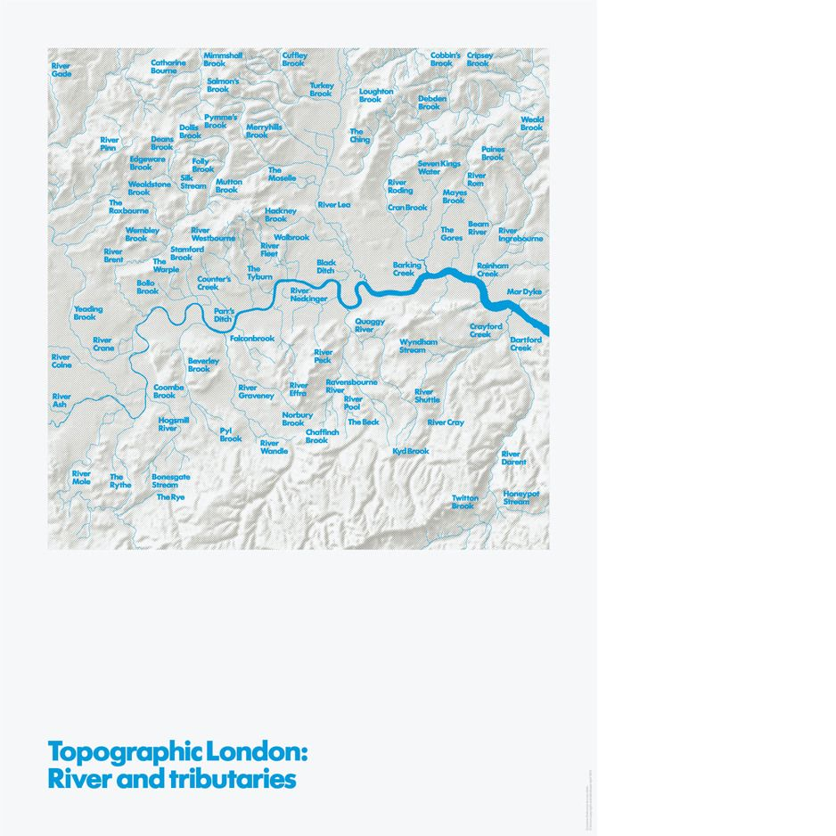 Image of Topographic #London: River and tributaries. A map of the area around #London, but without the city! By Melissa Price