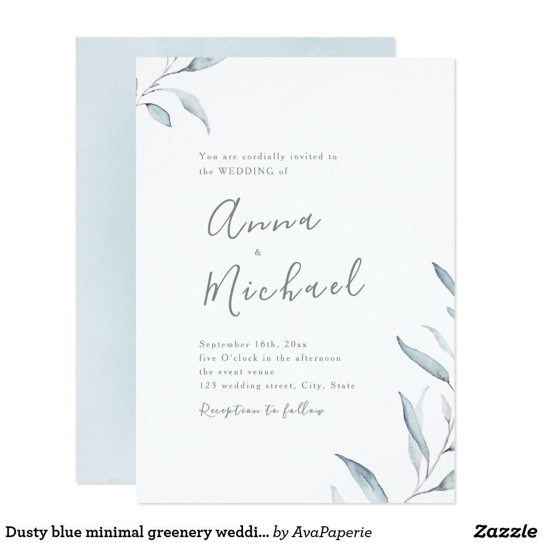 Dusty Blue Minimal Greenery Wedding Invitation Zazzle Com In 2020 Fun Wedding Invitations Minimalist Wedding Invitations Simple Wedding Invitations
