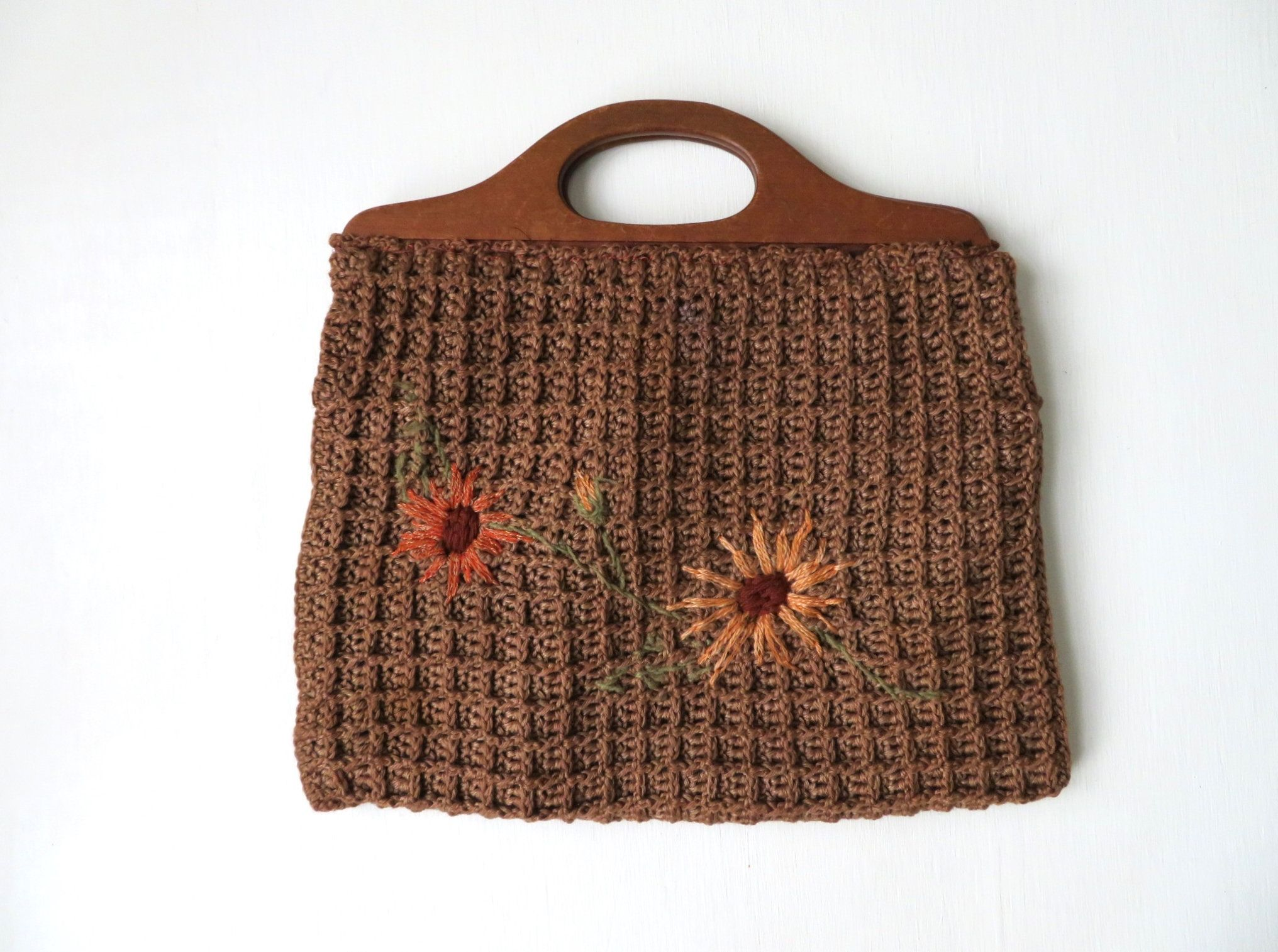 Crochet Bag With Wood Handles And Embroidered Flowers Vintage Bags Crochet Tote Bag Crochet Bag