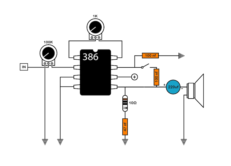 lm386 cigar box amp wiring diagram