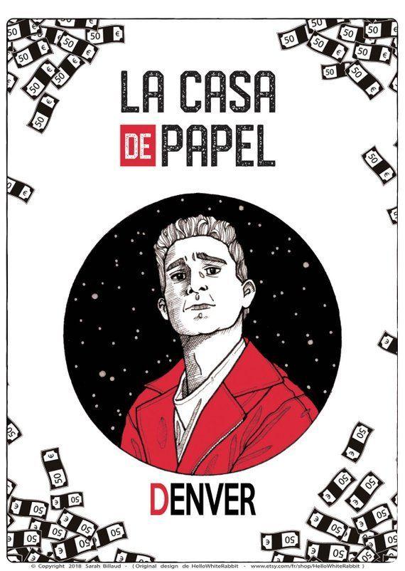 Denver Casa De Papel : denver, papel, Denver, Poster,, Money, Heist,, Papel, Character,, Illustration,..., Gift,, Cards,