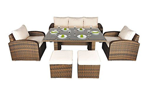 Nevada Rattan Garden Furniture 5 Seat Sofa Glass Top Table Dining
