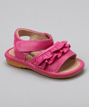 ca8befe4f2 Loving this Laniecakes Hot Pink Ruffle Squeaker Sandal on  zulily!   zulilyfinds