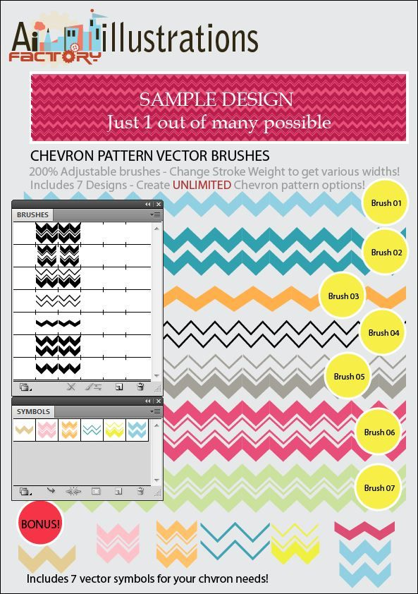 Chevron Stripes Pattern Brushes And Vector Symbols Library Art