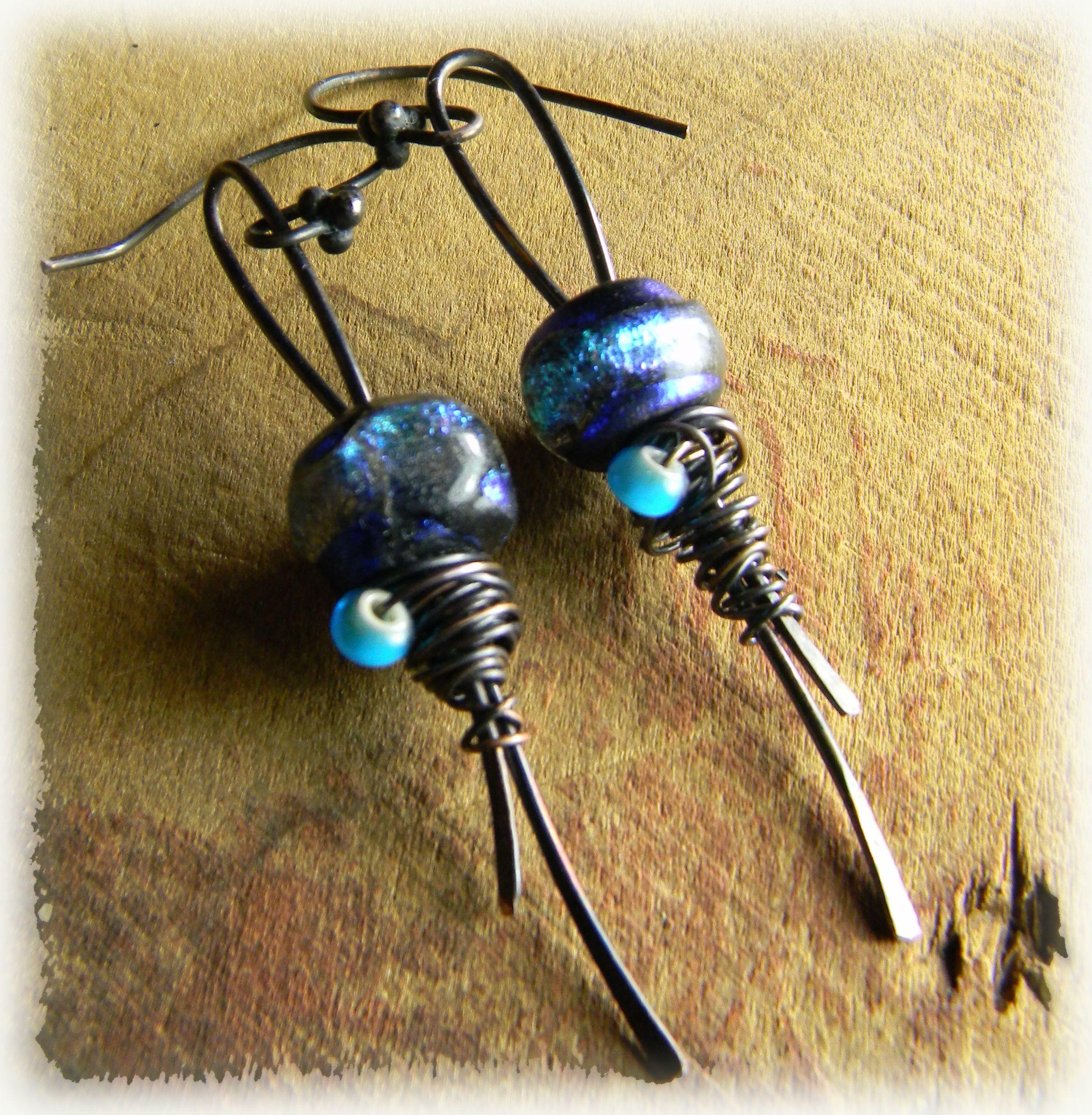 Blue basha bead earrings copper wire wrapped handmade