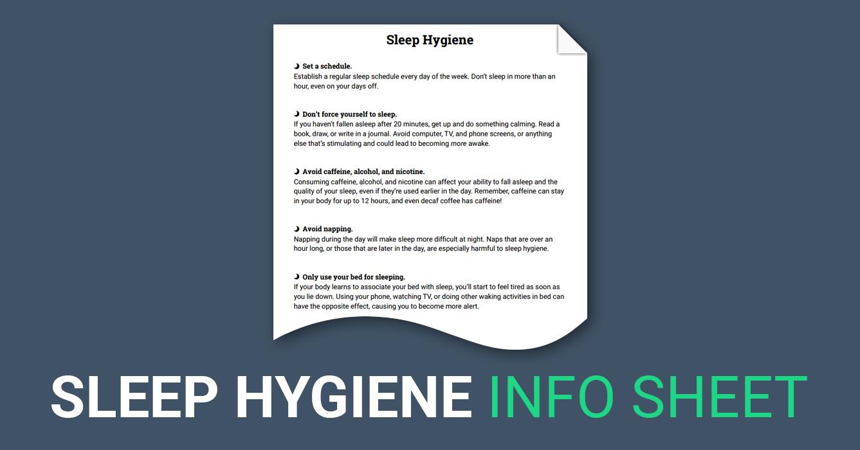 Sleep Hygiene Handout (Worksheet Therapy worksheets