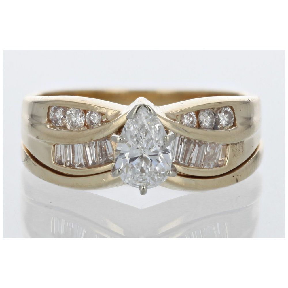 Pear Shaped Diamond Wedding Set Ring In 14k Yellow Gold Ebay Link: Link Diamond Wedding Band At Reisefeber.org