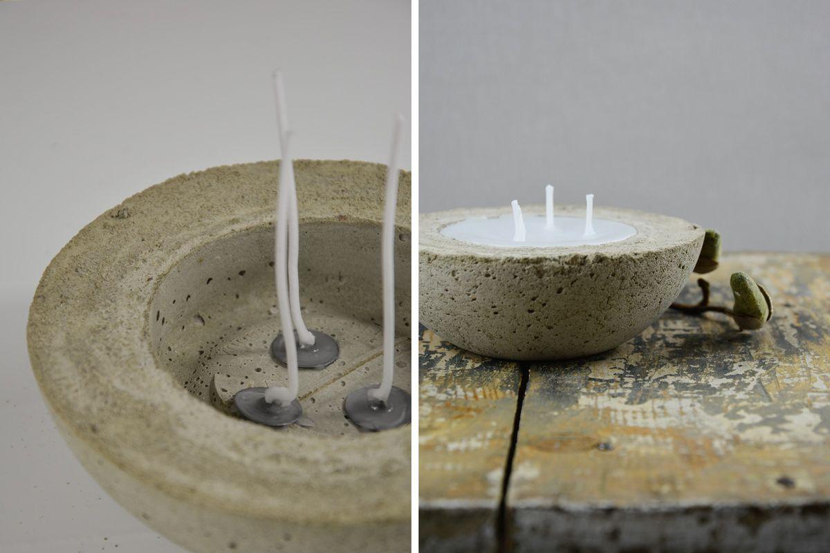 diy kerzen selber machen mit beton und wachs mxliving steine schwemmholz beton driftwood. Black Bedroom Furniture Sets. Home Design Ideas