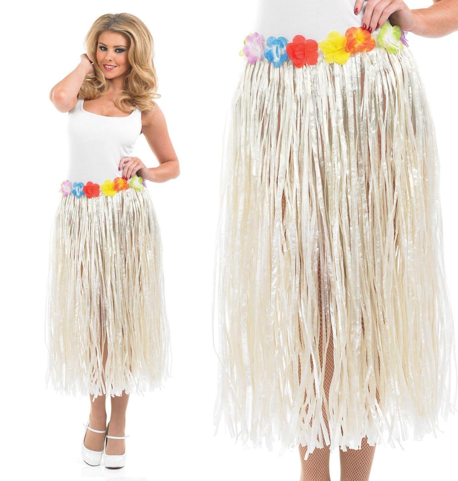Ladies Hawaiian Hula Girl Grass Leaf Skirt Fancy Dress Beach Costume Outfit