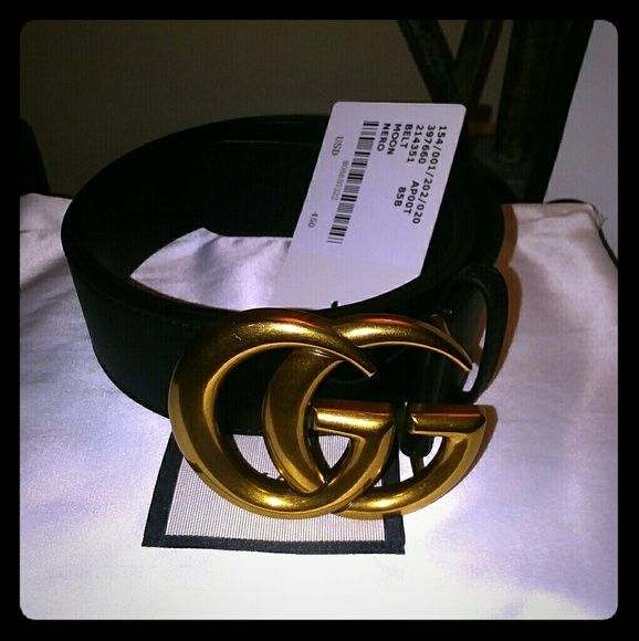 871b7d19389 Shop Women s Gucci Gold Black size Various Belts at a discounted price at  Poshmark. Description  A authentic brand new black leather Gucci belt with  a ...