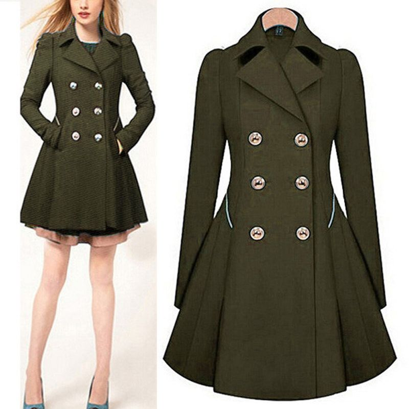 37118948bc Woolen Double Breasted Trench Coat Winter Coats Women Long Wool ...