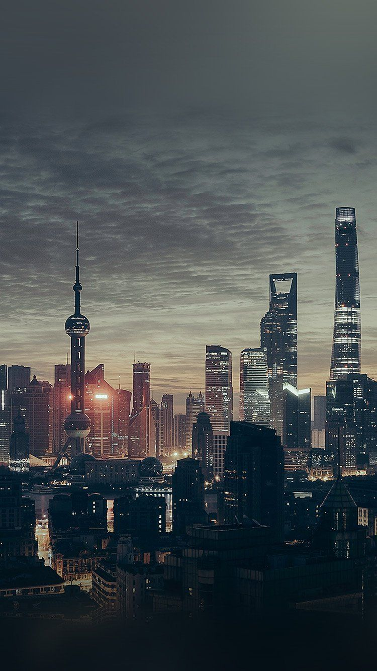 City Shanghai Night Building Skyline Wallpaper Hd Iphone In