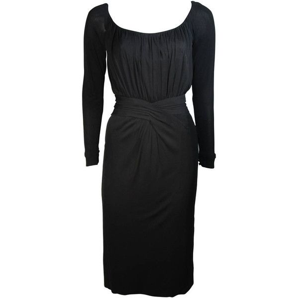 Preowned Ceil Chapman Black Silk Crepe Cocktail Dress With Gathers... ($1,895) ❤ liked on Polyvore featuring dresses, black, cocktail dresses, criss cross dress, crisscross dresses, drapey dress, ruching dress and sleeve cocktail dress