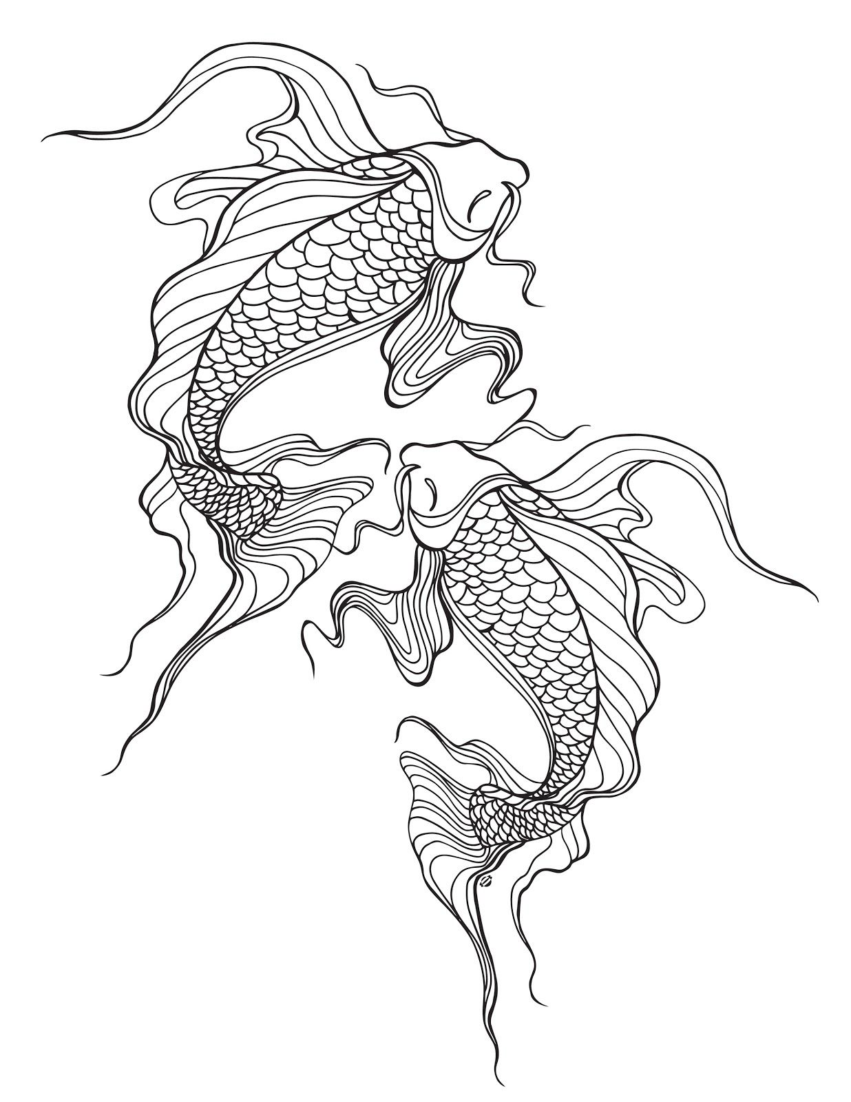 Lostbumblebee Mdbn Grown Up Colouring Coloring Sheets Koi Fish Free Donate To