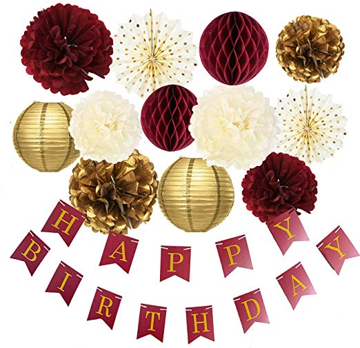 Amazon Com Burgundy Gold Birthday Party Decorations Burgundy Gold Happy Birthday Banner T 30th Birthday Decorations Fall Birthday Parties Birthday Decorations