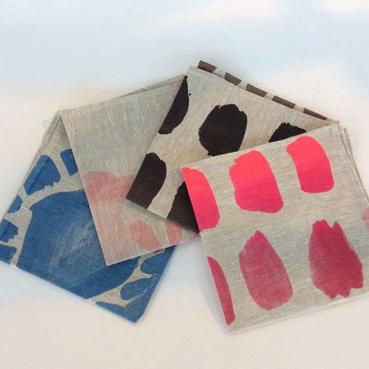 Watercolor Viscosity Napkins - 6pc - BLACK from Glass House for $114.00