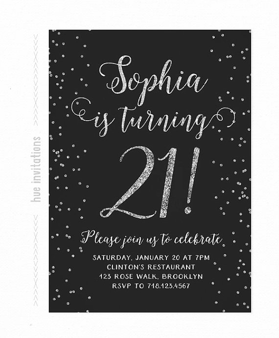 21st Birthday Invitation Silver And Black Glitter Party Invitations Modern Simple
