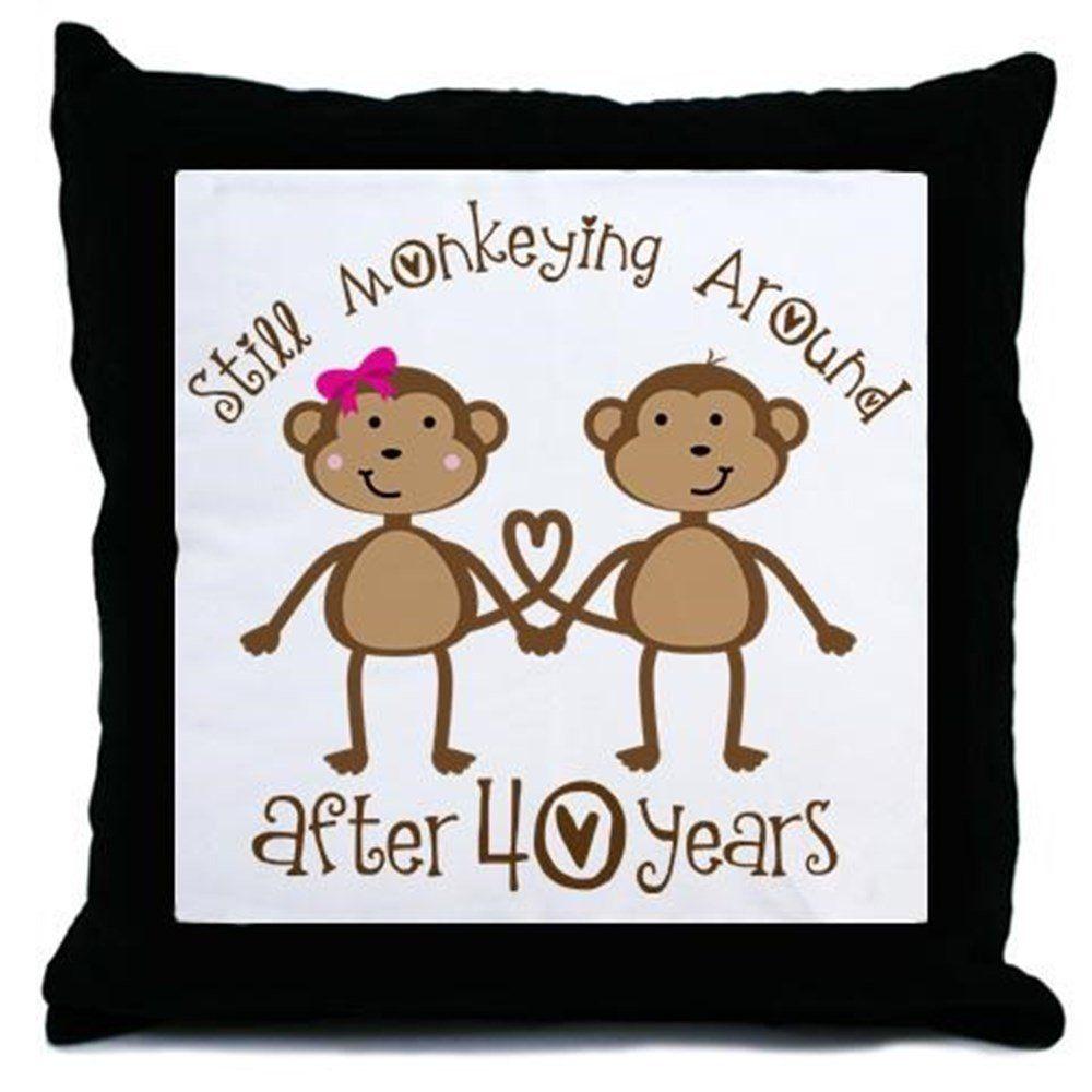 40th anniversary love monkeys throw pillow click image