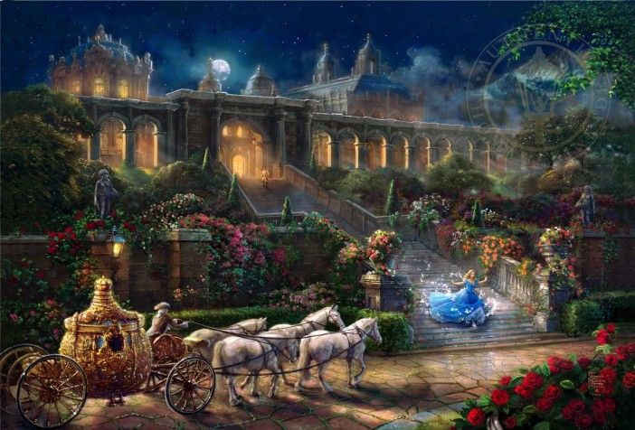 Thomas Kinkade Cinderella Clock Strikes Midnight Art