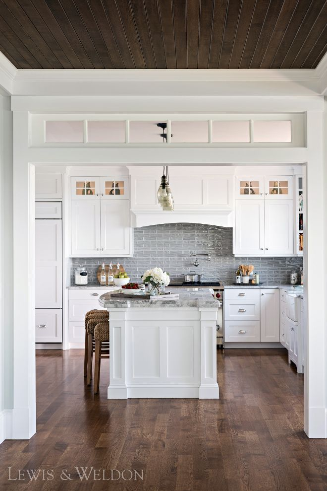 White Kitchen With Dark Wood Floors. Classic Kitchen, Timeless Kitchen That  Will Last For Years. | New Wood Flooring Pics | Pinterest | Timeless Kitchen,  ...