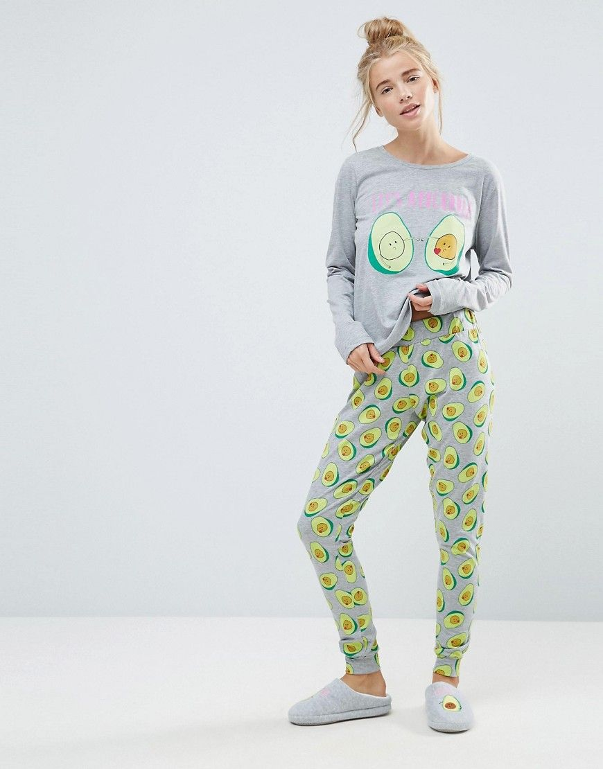ASOS Avocado Avocuddle Long Sleeve Tee   Legging Pajama Set - Multi ... c1c559c5f