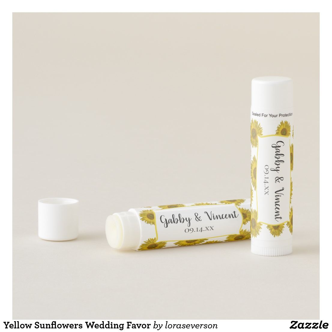 Yellow Sunflowers Wedding Favor Lip Balm Personalize and date the ...